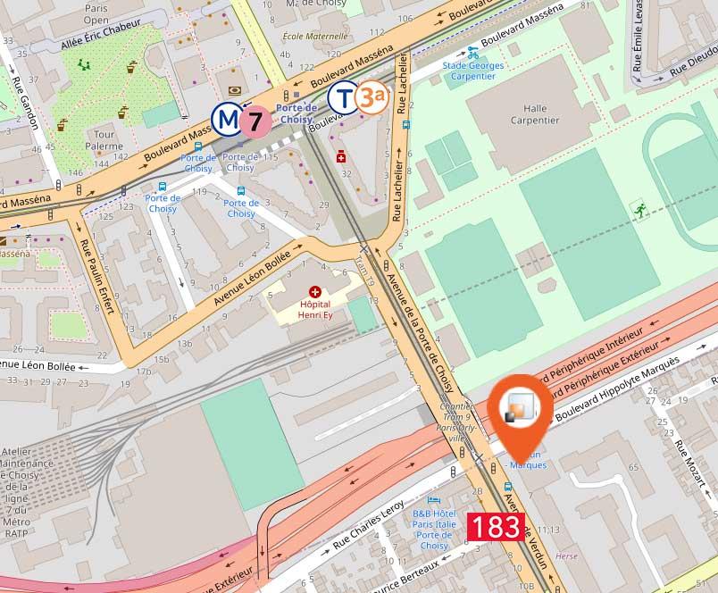 carte acces asterop open street map